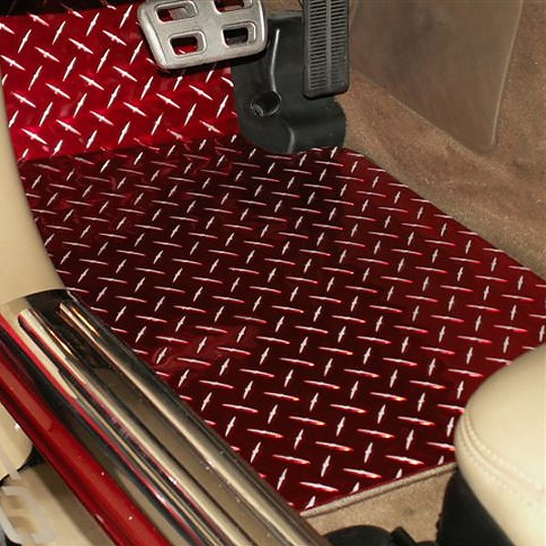 List Of Car Brands >> American Car Craft® 031002 - 1st Row Aluminum Red Diamond Plate Floor Mats