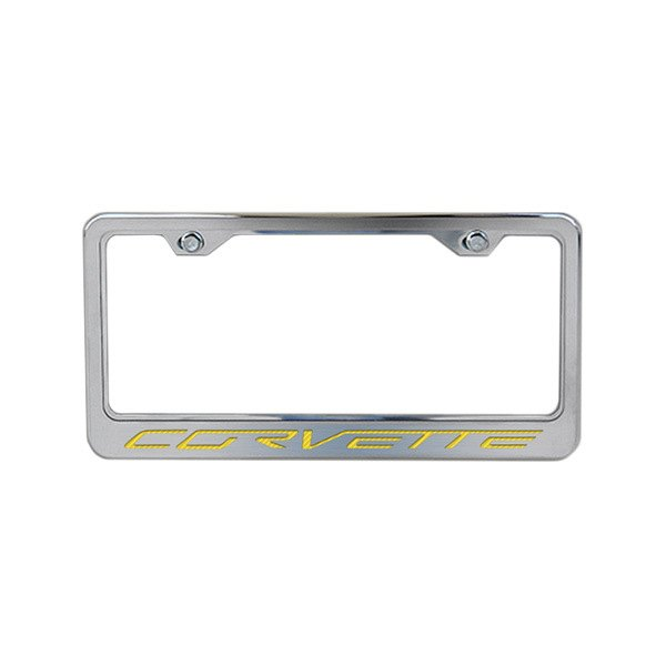 american car craft license plate frame with corvette logo
