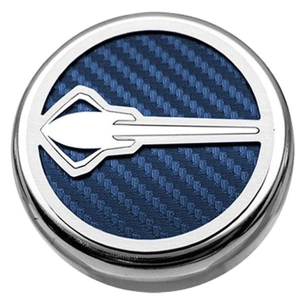 Stingray Emblem American Car Craft 053015-BLU Blue Carbon Fiber Fluid Cap Cover Set 5 Piece