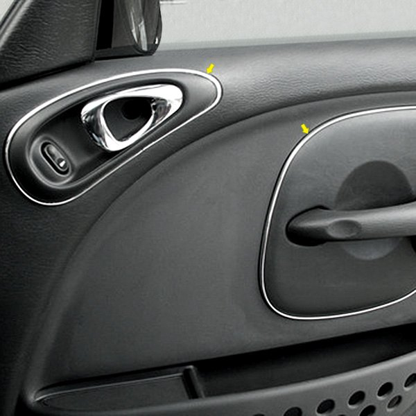 Exterior Front Door Trim Kits: Chrysler PT Cruiser 2001 Chrome Vinyl Door Trim Kit