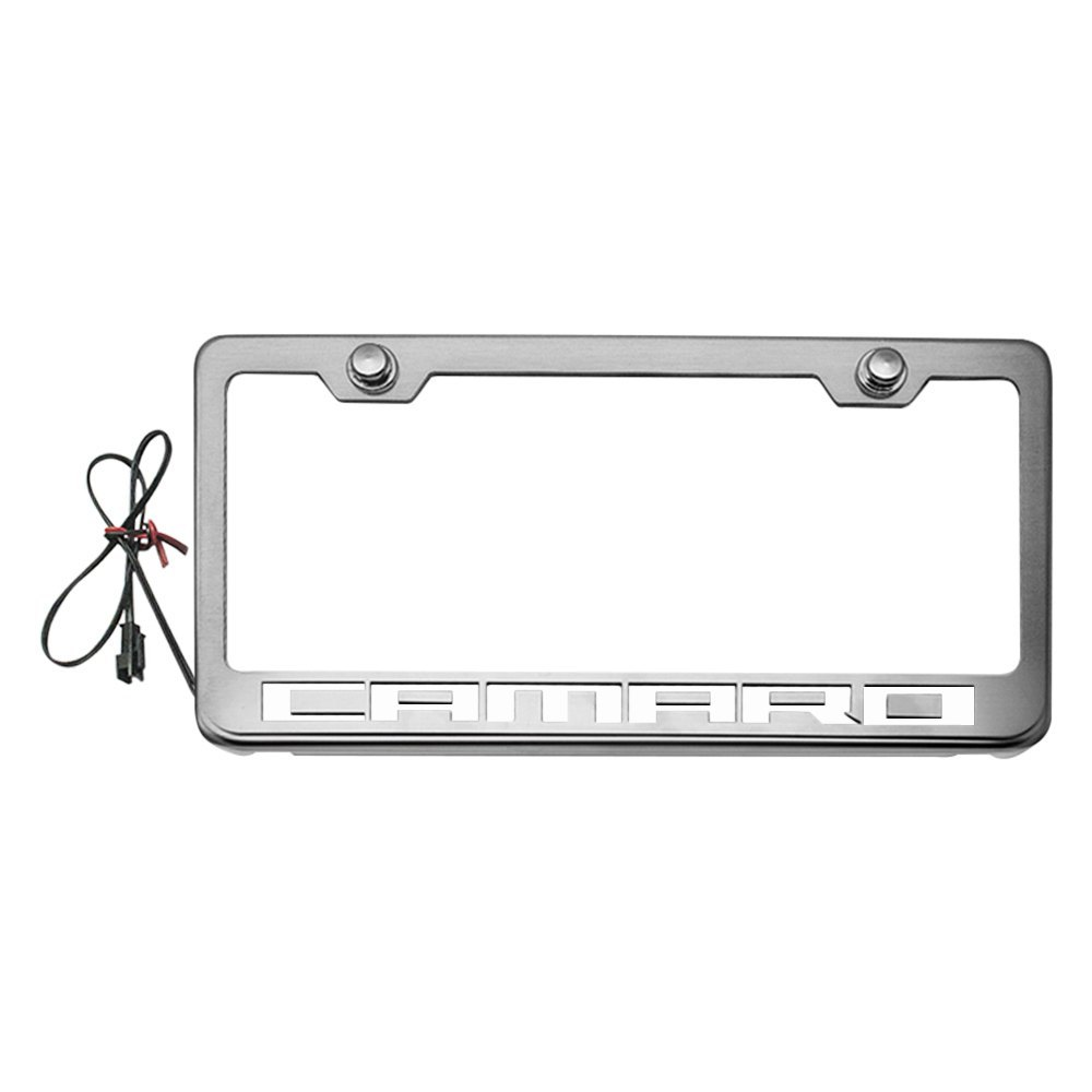 American Car Craft® 102043-WHTL - Brushed License Plate Frame with ...