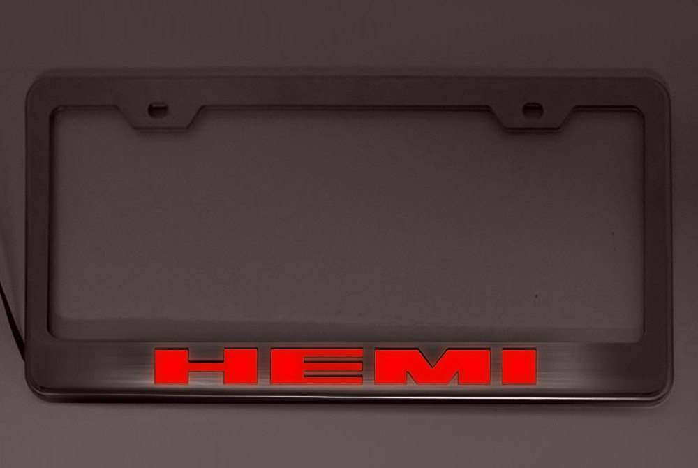... Car Craft®   License Plate Frame With HEMI Logo IlluminatedAmerican ...
