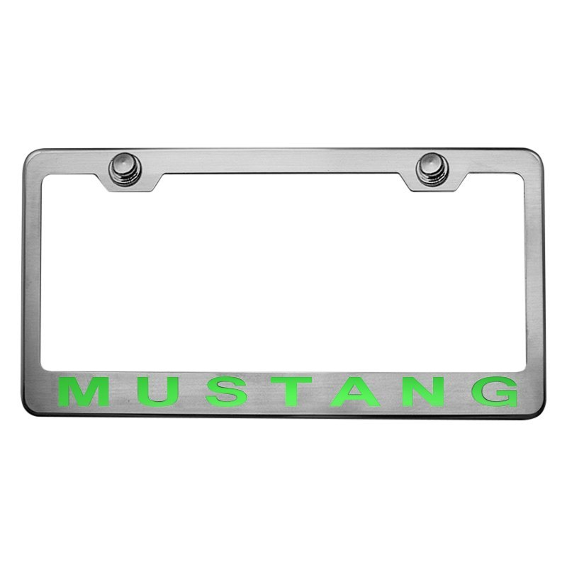 ACC 102043-SGRN Brushed License Plate Frame w Synergy Green Solid Camaro Logo