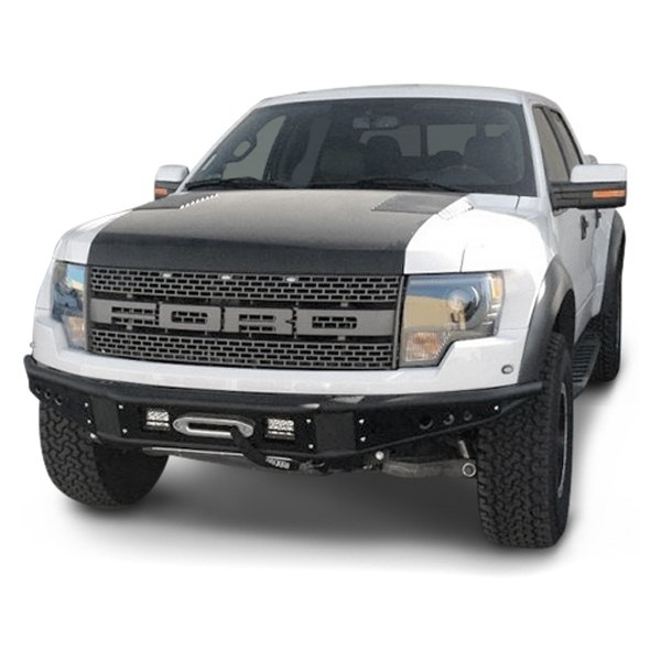 Add ford f 150 2011 2014 venom full width black front winch pre runner bumper for Ford f 150 exterior accessories