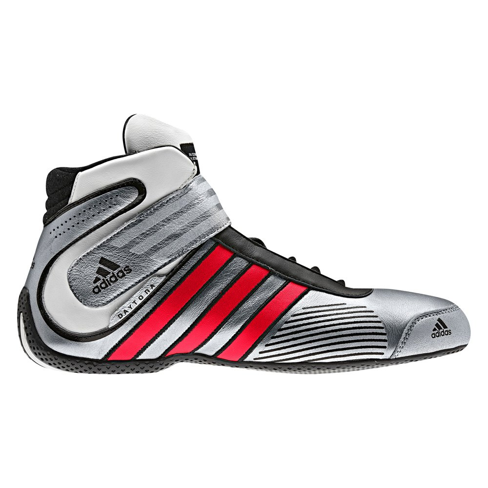 adidas® - Daytona Series Racing Shoes, US 11 Size, Silver with Red