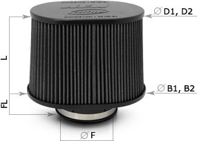 AEM Oval Brute Force Filter Dimensions