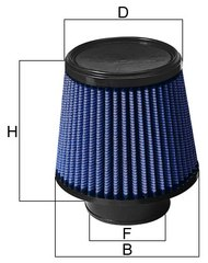 aFe Clamp-On Pro 5R Air Filter Dimensions