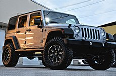 AMP® - Terrain Master M/T Tires with FUEL Wheeks on Jeep Wrangler