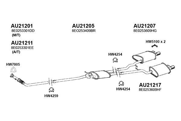 For Audi A4 Quattro Exhaust Downpipe w// Flex Joint ANSA 8E0 253 301 EE//AU21211
