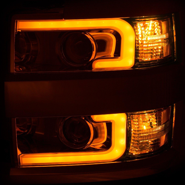 Chevy Silverado 3500 >> Anzo® - Chevy Silverado 2500 HD / 3500 HD 2017 Chrome Switchback U-Bar Projector LED Headlights