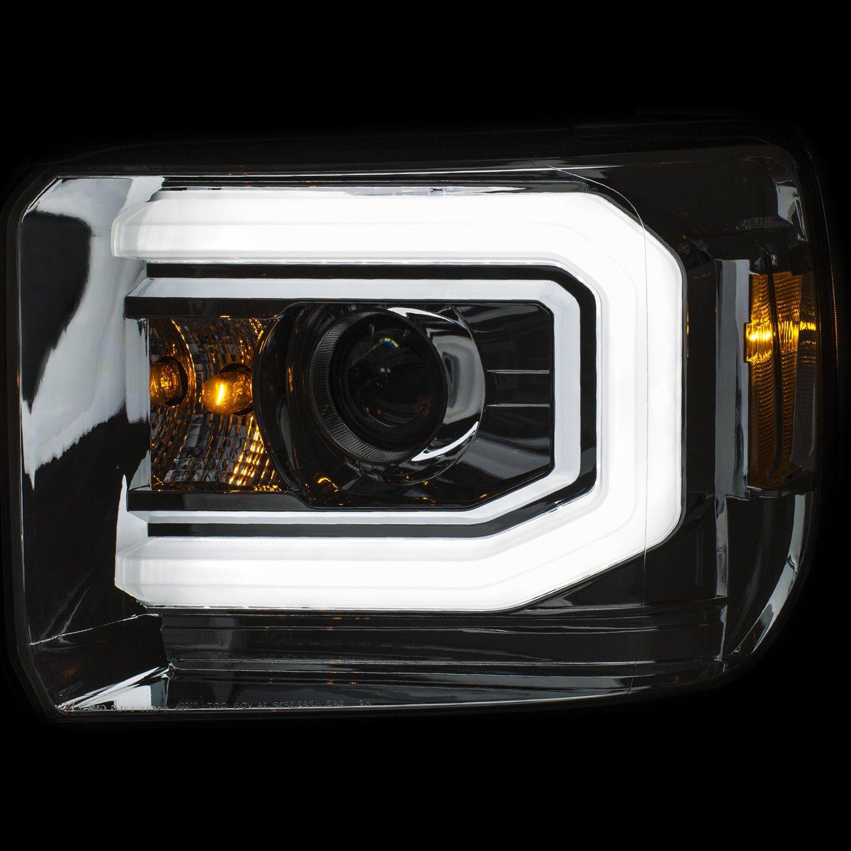 anzo gmc sierra with factory halogen headlights 2015 2018 chrome switchback u bar projector. Black Bedroom Furniture Sets. Home Design Ideas