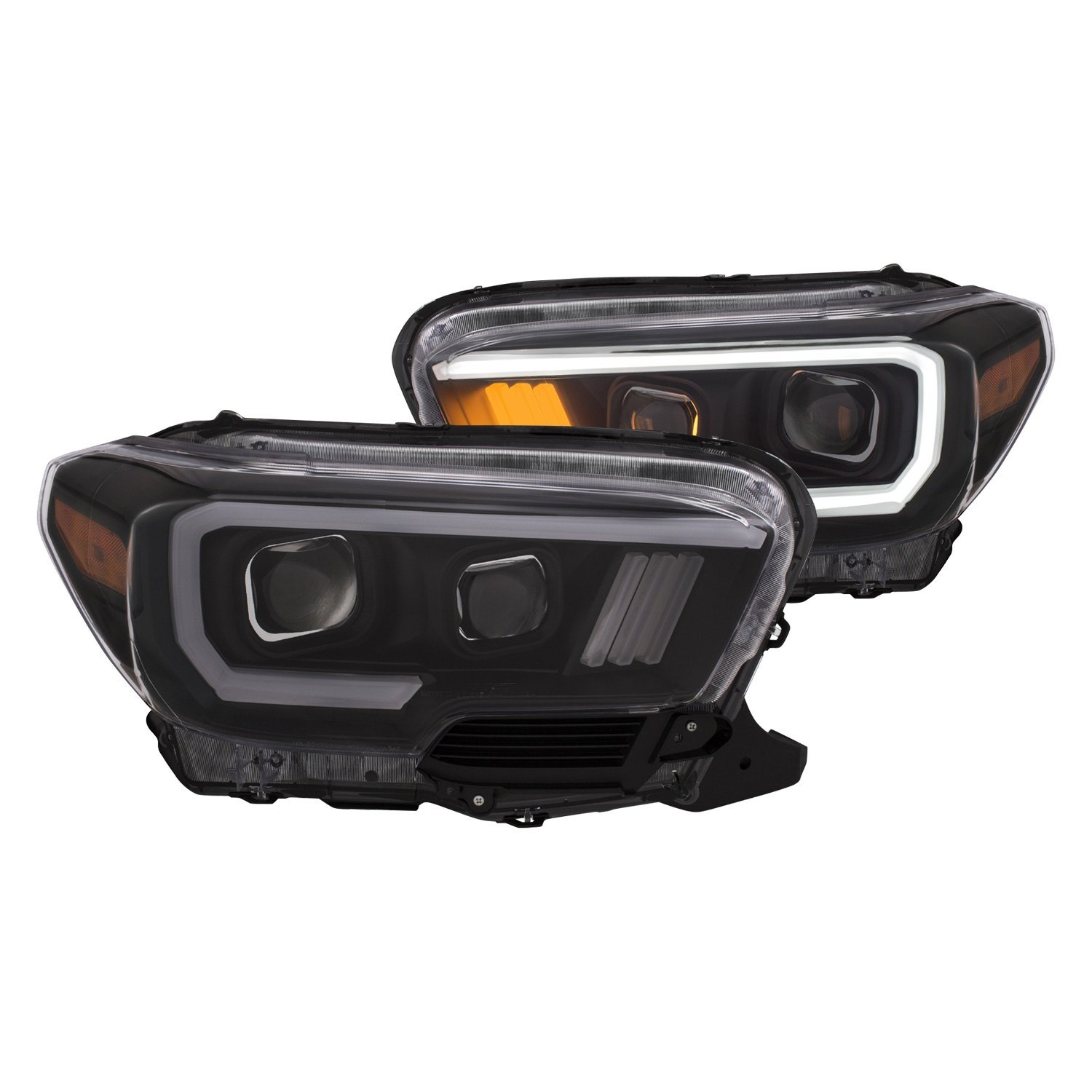 Anzo black u bar projector headlights with amber led turn signals