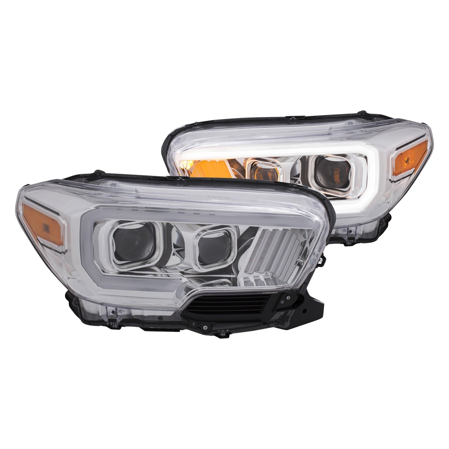 Anzo chrome u bar projector headlights with amber led turn signals