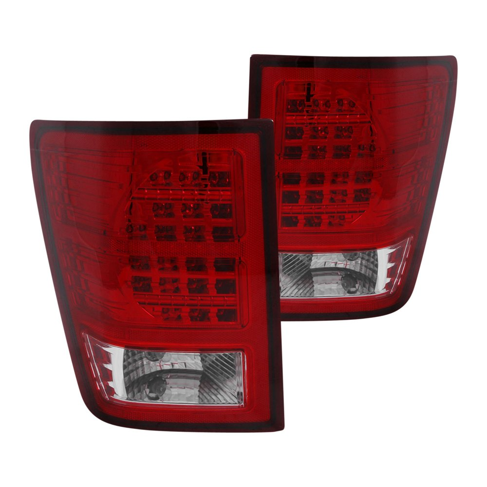 311181 jeep grand cherokee 2007 2010 red clear led tail lights. Black Bedroom Furniture Sets. Home Design Ideas