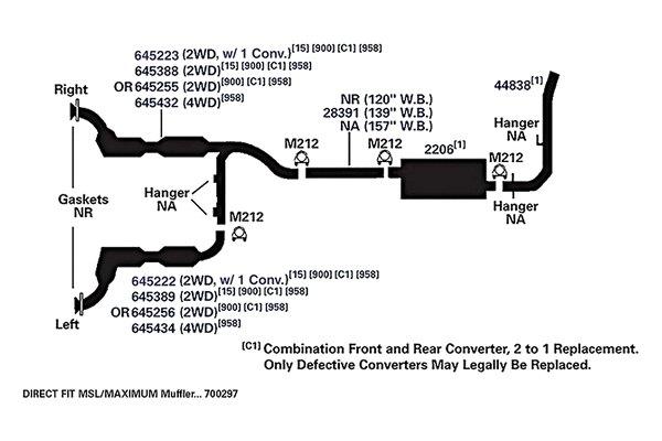 Catalytic Converter Left AP Exhaust 645256