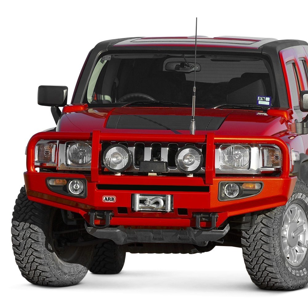 ARB® - Deluxe Full Width Black Front Winch HD Bumper with Grille Guard | hummer h3 grill guard
