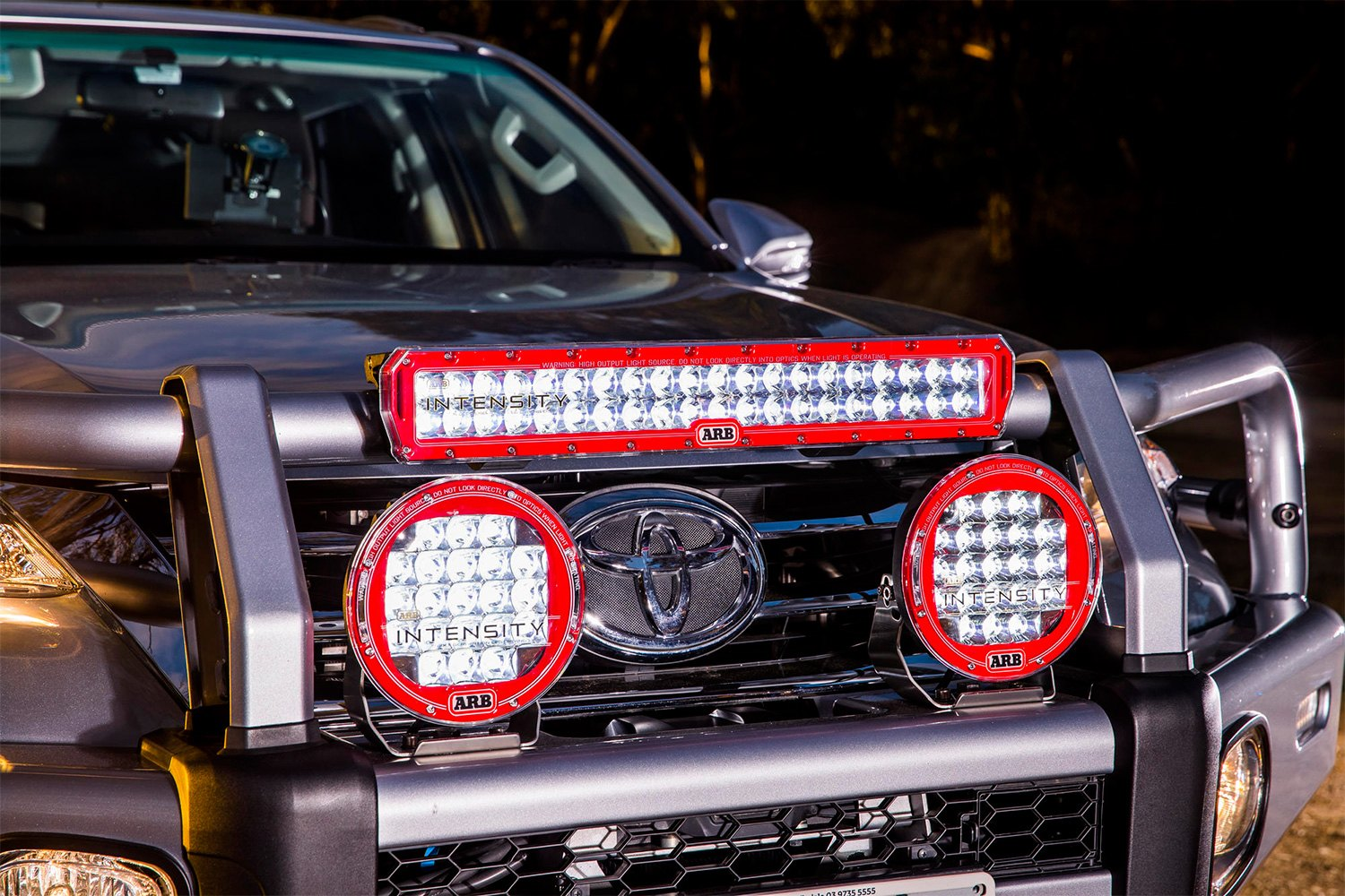 Arb intensity 20 115w dual row blackred housing led light bar installed arb intensity dual row led light bar mozeypictures Choice Image