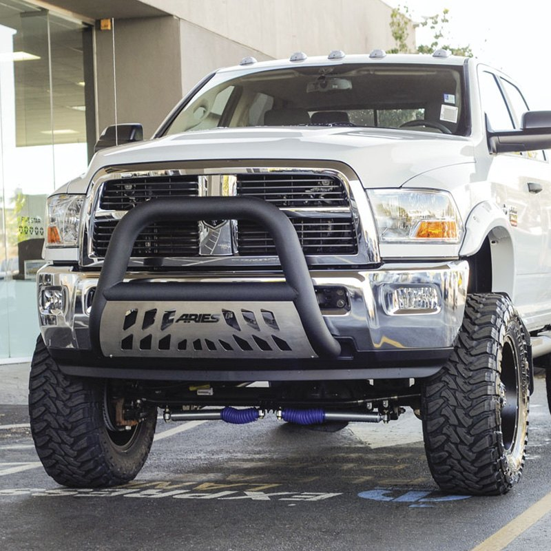 Aries ford f 150 2005 2017 4 big horn bull bar with brushed skid installedaries 4 big horn black bull bar with brushed skid plate mozeypictures Image collections