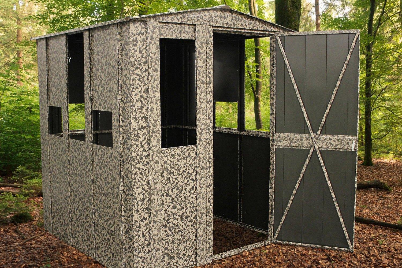 Arrow storage hus66 hunter shack steel hunting blind for Hunting shack designs