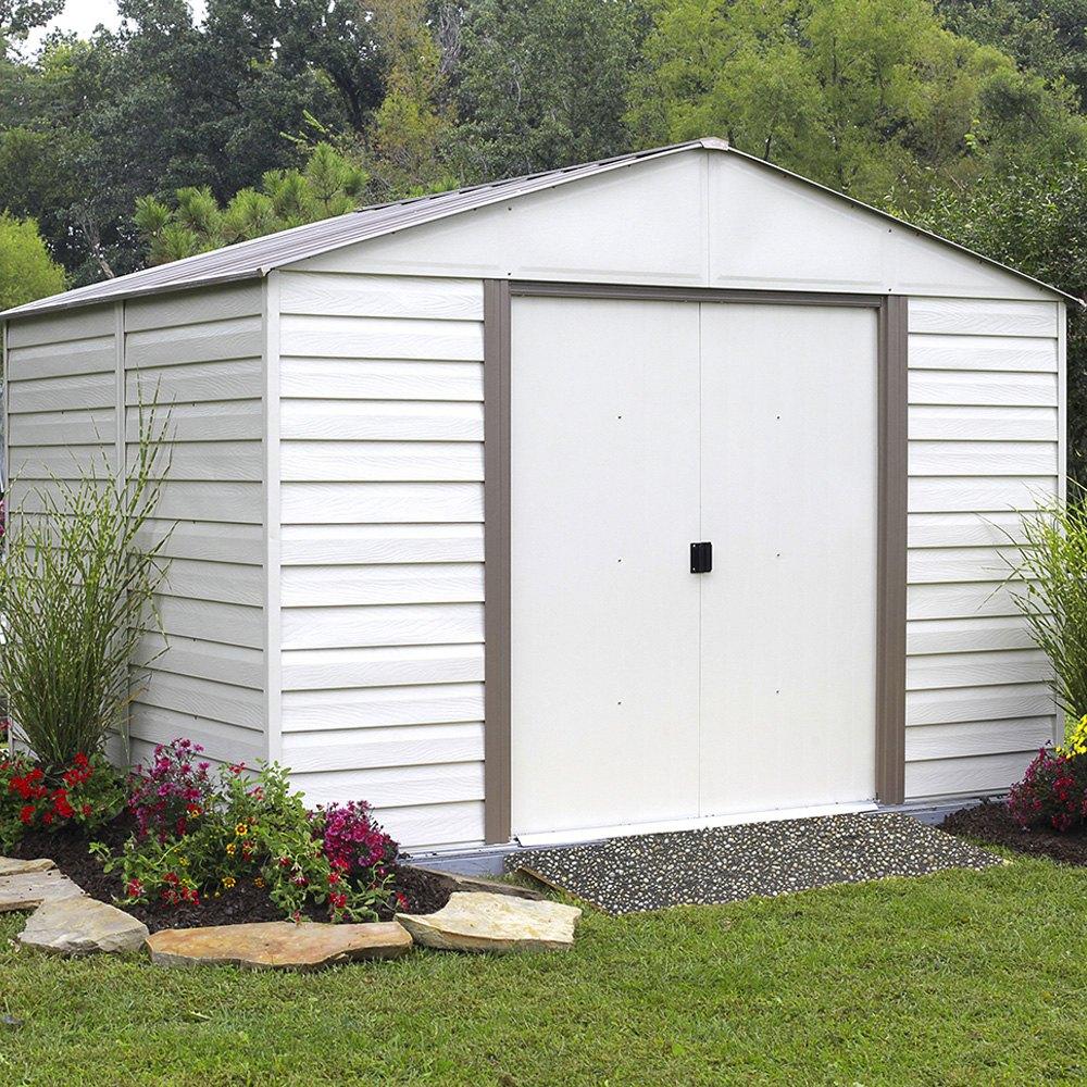 Arrow storage vm108 10 39 x 8 39 vinyl milford shed for Vinyl storage buildings