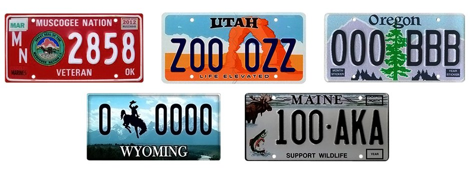 Variety Of Custom License Plate