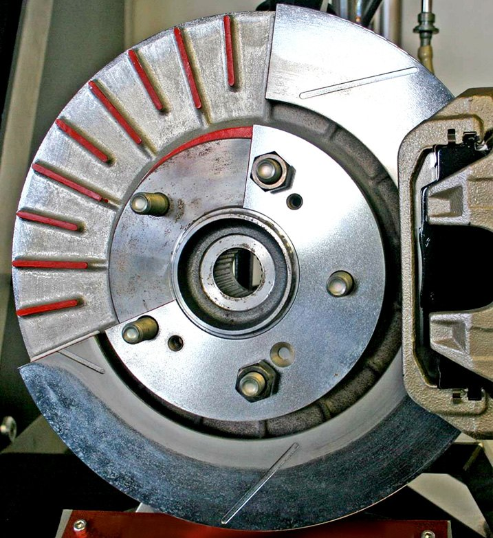 Cutaway View Of Disc Brake Rotor Equipped With Cooling Fins