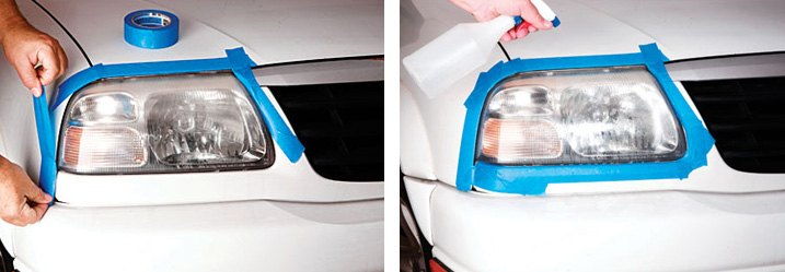 Surrounding Headlight With Masking Tape