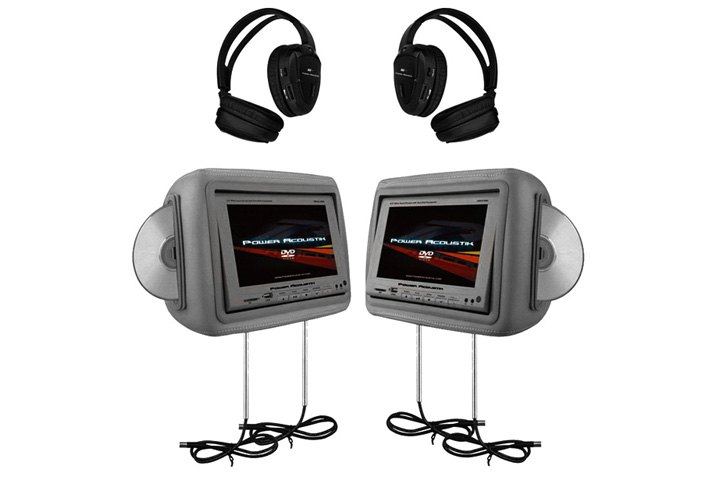 "Pair Of Power Acoustik 8.8"" Dark Gray Headrest LCD Monitors"