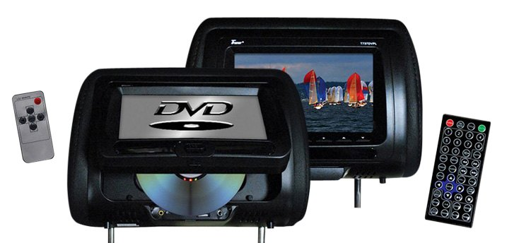Tview Black Headrest LCD Monitor with Built-In DVD Player