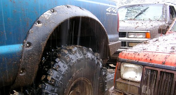 Lifted Truck Equipped With Fender Flares