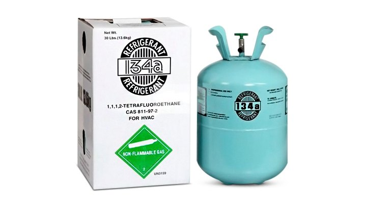 R-134a refrigerant is in 30-lb. tanks