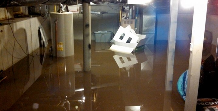 Flooded Basement During Storm