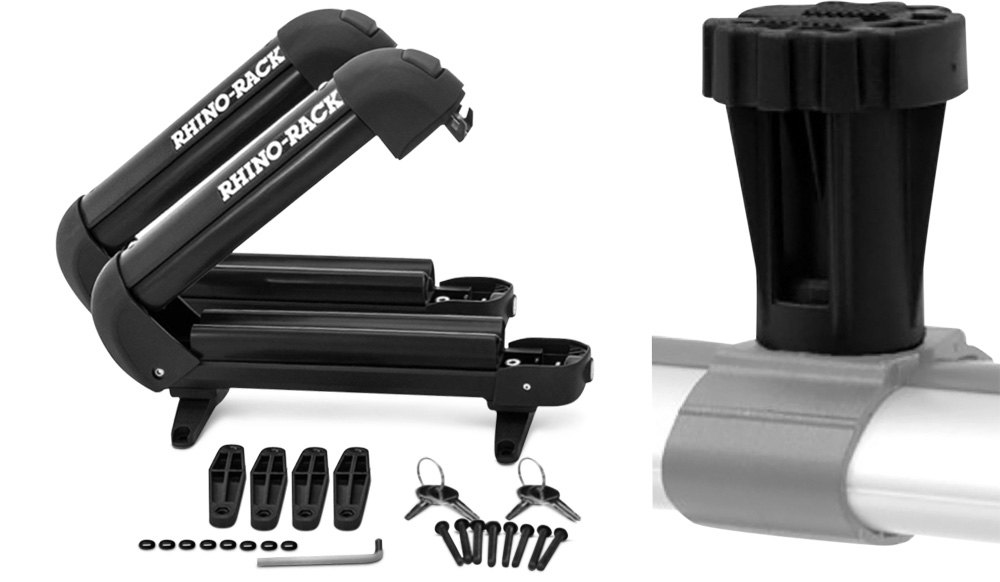 Rhino-Rack Ski & Snowboard Rack With Mirror Black Finished Metal Surfaces
