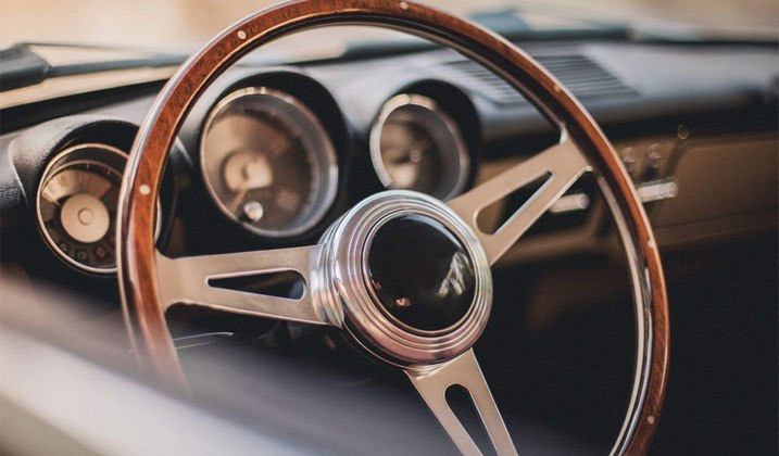 Elegant Wood Rimmed Steering Wheel