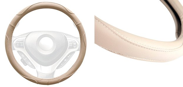 Winjet Faux Leather Steering Wheel Cover With MultiCurve Pattern
