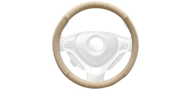 Winjet Genuine Leather Beige Steering Wheel Cover