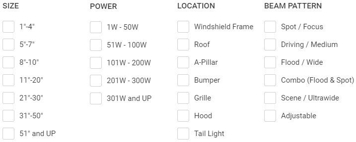 Auxiliary And Off-Road Lights Check Boxes
