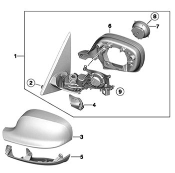 Exploded Rear View Of Typical Side View Mirror Assembly
