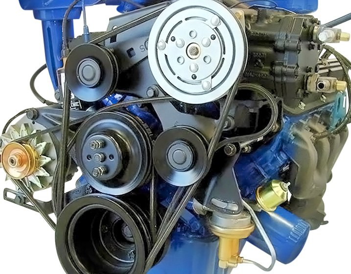 Older Engine Equipped With Many Different Individual Accessory Drive Belts