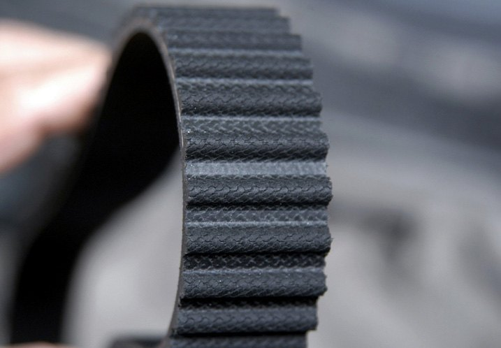 Closeup Look Of Timing Belt Grooved Teeth