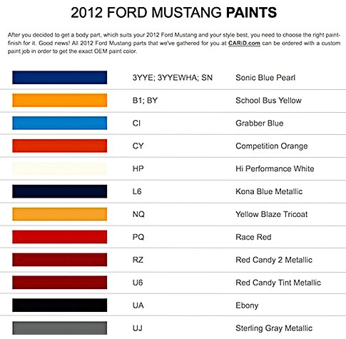 List Of 2012 Ford Mustang Paints