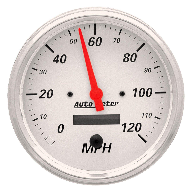 "Auto Body Shops >> Auto Meter® 1389 - Arctic White Series 5"" Speedometer Gauge, 0-120 MPH"