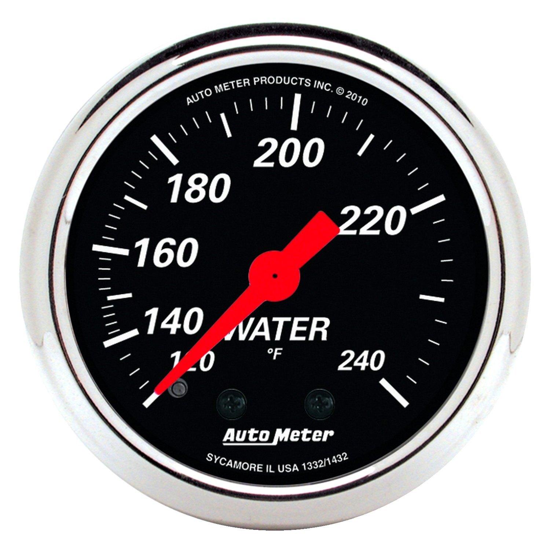 auto meter 1432 designer black water temperature in dash gauge. Black Bedroom Furniture Sets. Home Design Ideas