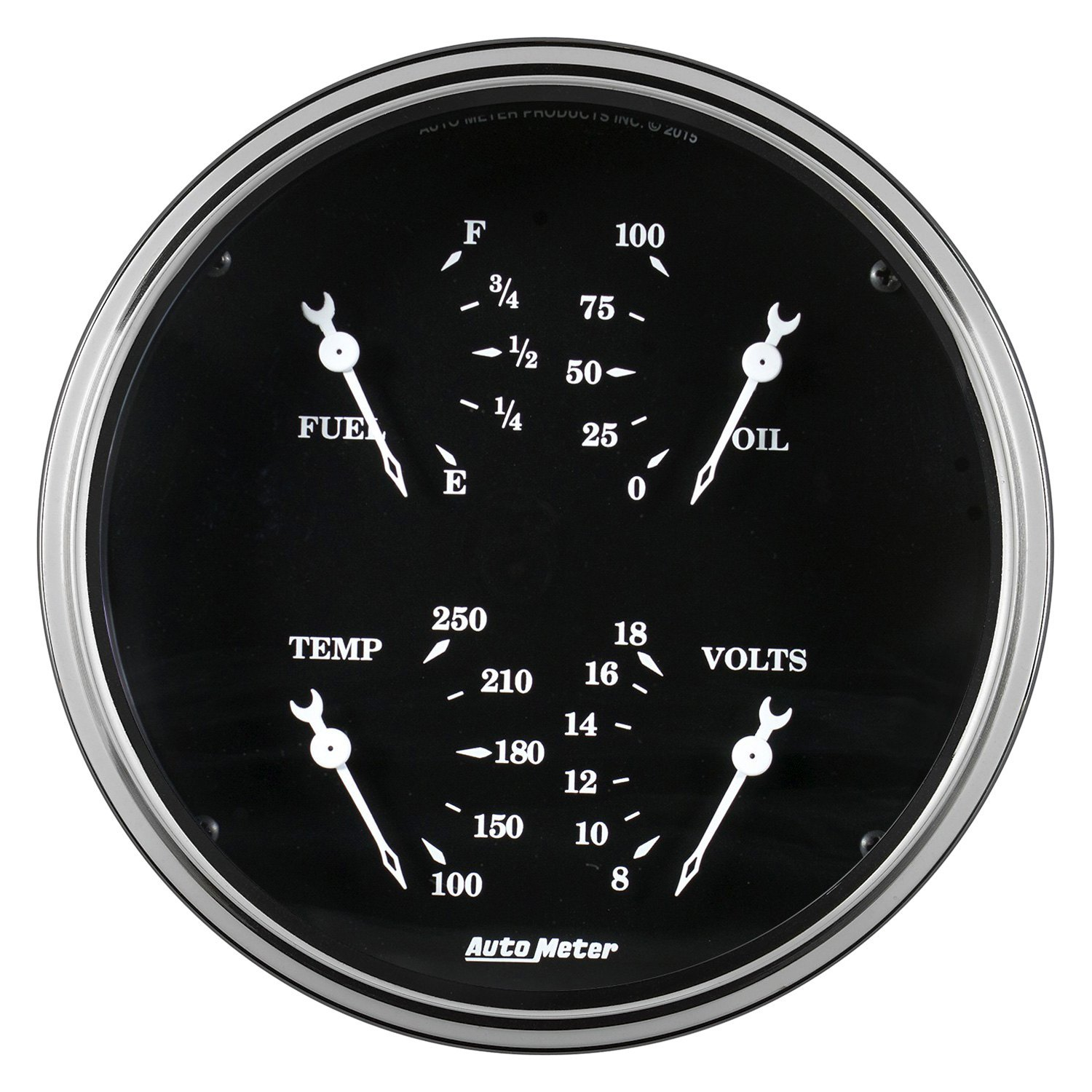 Electronic Voltmeter Gauges Oil And Water : Auto meter old tyme black series quot quad gauge