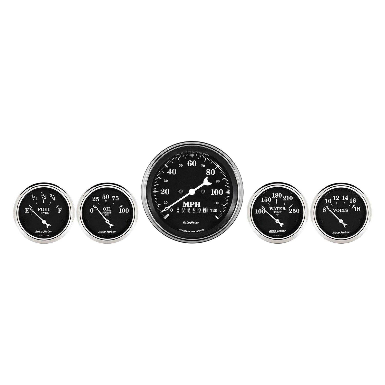 Universal Auto Gauges : Auto meter old tyme black series piece kit