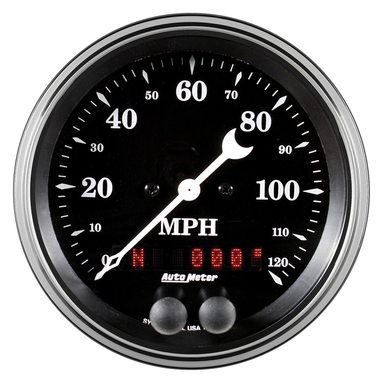 auto meter 1749 old tyme black series 3 3 8 speedometer gauge 0 120 mph. Black Bedroom Furniture Sets. Home Design Ideas