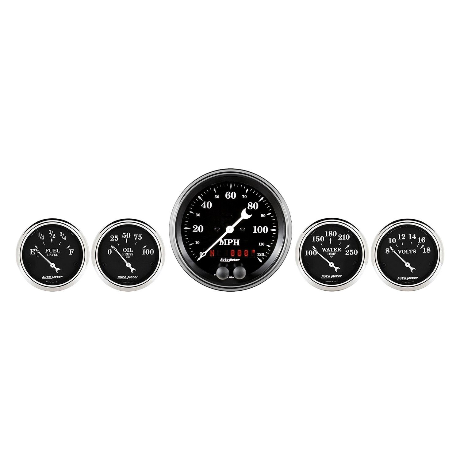 AUTO METER 1708 Old TYME Black Street Rod Kit