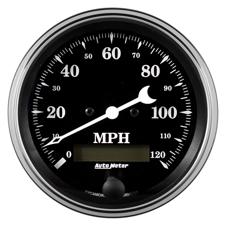auto meter 1780 old tyme black series 3 3 8 speedometer gauge 0 120 mph. Black Bedroom Furniture Sets. Home Design Ideas