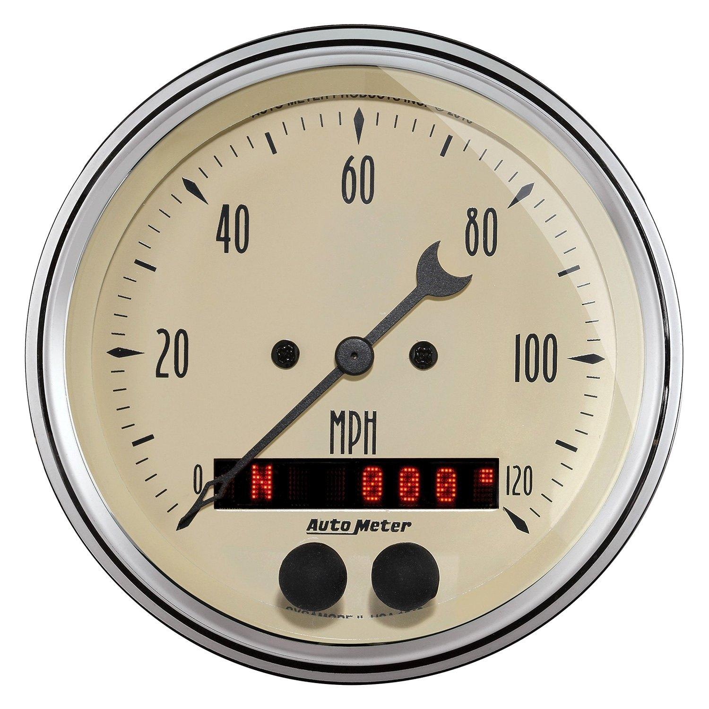 Antique Meter And Gauges : Auto meter antique beige™ speedometer in dash gauge