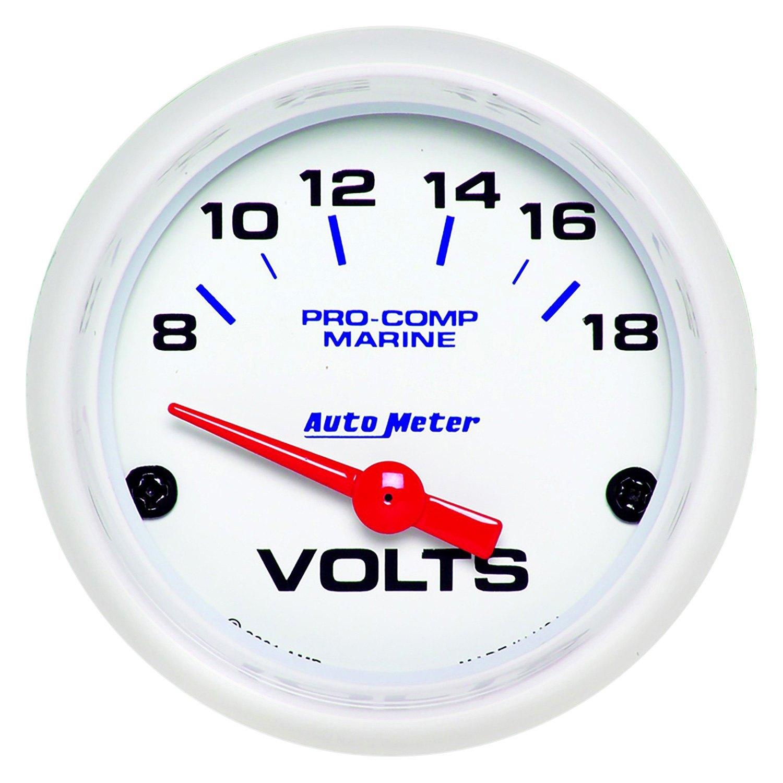 Voltmeters In Dash : Auto meter marine white voltmeter in dash gauge
